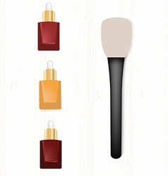 Set of realistic bottles of serum and brush for vector image