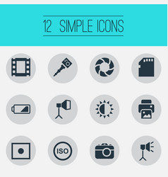 Set simple photograph icons vector