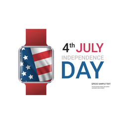 smart watch with united states flag american vector image
