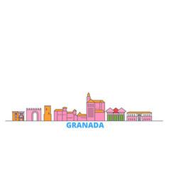 Spain granada line cityscape flat travel vector