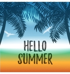 summer background with ocean and palms vector image