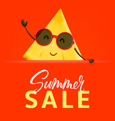 Summer sale banner with pineapple character vector