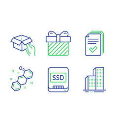 Surprise hold box and ssd icons set handout vector