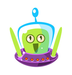 Surprised green alien cute cartoon monster vector