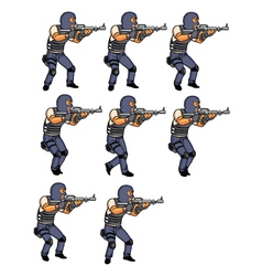 SWAT Officer Walking Animation vector