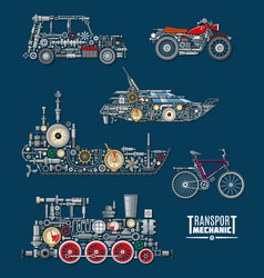 Transport vehicles mechanics and mechanisms vector