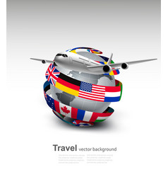 Travel background globe with a plane and a circle vector