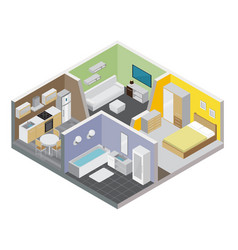 two rooms apartment design concept vector image