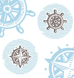 Vintage marine symbols icon set engraving wheel vector