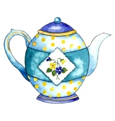 Watercolor teapot on the white backgrounds vector image