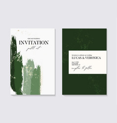 wedding green grunge splash invitation cards with vector image
