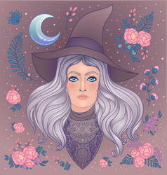Wiccan witch with moon herbs and wlowers young vector