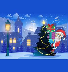 Winter scene with christmas theme 7 vector