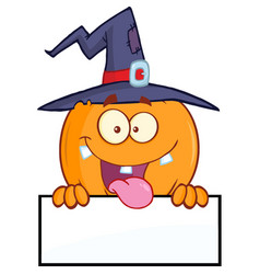 witch pumpkin character over a blank sign vector image