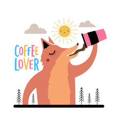 with fox drinking coffee tea or hot chocolate vector image