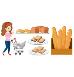 woman with shopping cart and bread vector image
