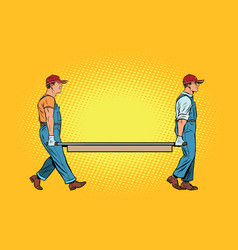 Workers with a stretcher vector