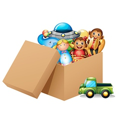 A box full of different toys vector image vector image