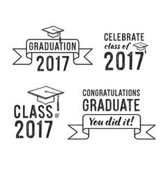 congratulations graduate 2017 graduation set vector image