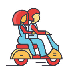 couple in love riding a motorcycle happy man with vector image