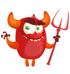 cute cartoon devil monster vector image