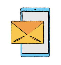 drawing smartphone email message mail vector image vector image
