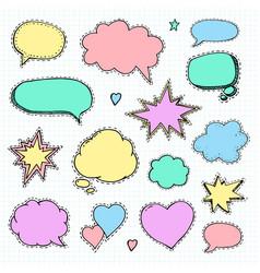 hand drawn set of speech bubbles vector image