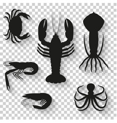 seafood icons set silhouette icons with shadow on vector image vector image