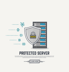 server virus protection vector image vector image