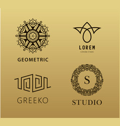 set of abstract linear monogram logos vector image