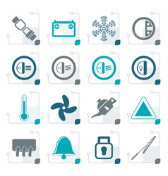 stylized car dashboard icons vector image