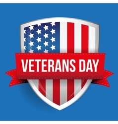 Veterans Day on USA flag shield vector image vector image