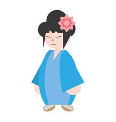 Asian woman wearing dress and sakura flower vector