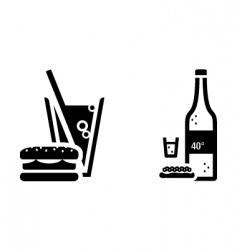 fast food and vodka signs vector image vector image