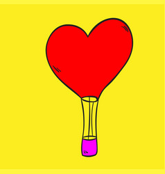 hot air balloon love on a yellow background vector image