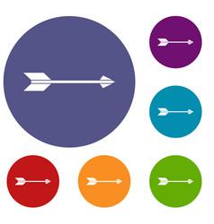 long arrow icons set vector image vector image