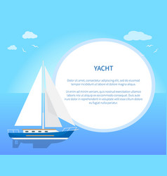 pretty card with yacht color vector image vector image
