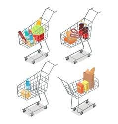 Set of Trolleys with Food Supermarket Equipment vector image