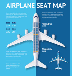 airplane seat map class card vector image vector image