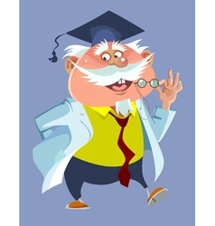 Cartoon chubby male professor in a robe and cap vector