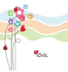 Cute floral love card vector image vector image