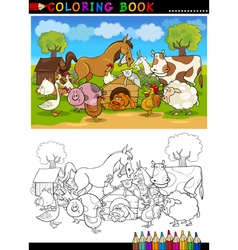 Farm and Livestock Animals for Coloring vector image