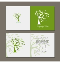 Greeting card with green tree vector image vector image