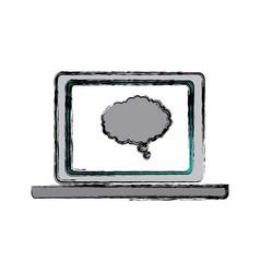 laptop bubble speech communication technology vector image
