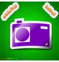 Photo camera icon sign Symbol chic colored sticky vector image