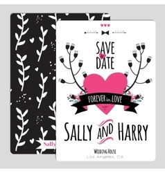 Wedding romantic floral save the date invitation vector