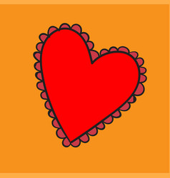 big red heart with a pattern on yellow background vector image vector image