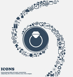 Diamond engagement ring icon in the center around vector