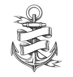 hand drawn anchor sketch with blank ribbon vector image vector image
