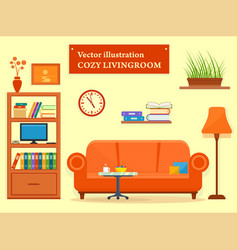 living room interior with sofa and furniture vector image vector image